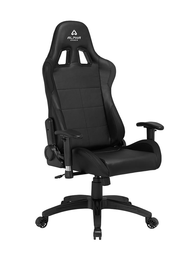 alphagamer vega black gaming stuhl schwarz pu leder bis zu 150 kg. Black Bedroom Furniture Sets. Home Design Ideas